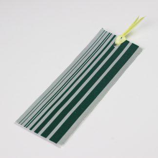 宮嶋美紀の博多織で作られたしおりです。うすい青地に緑色の縦線の模様です。