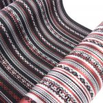 宮嶋美紀が制作した博多織の博多帯、八寸なごや帯「九献上 赤い宝」です。
