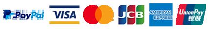 ペイパル、Visa、Master、JCB、American Express、Union Payのクレジットカードをご利用いただけます