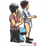 博多伝統工芸品の博多きり絵の作品です。博多の祭り、博多祇園山笠に参加する男の子の締め込みを、お母さんが後ろで跪いて締めています。