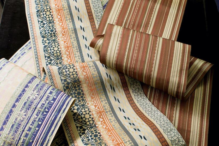 宮嶋美紀の制作による3種類の博多織の博多帯です。